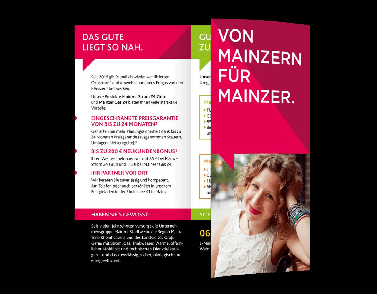 Flyer Mainzer Stadtwerke Titelseite und Innenseiten
